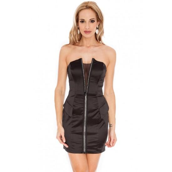 Μαύρο σατέν φόρεμα