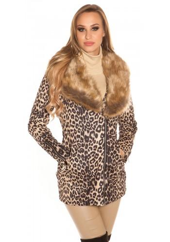 Παλτό λεοπάρ με γούνα