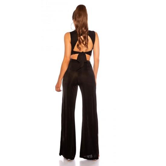 Παντελόνα με ανοίγματα & crop top σετ