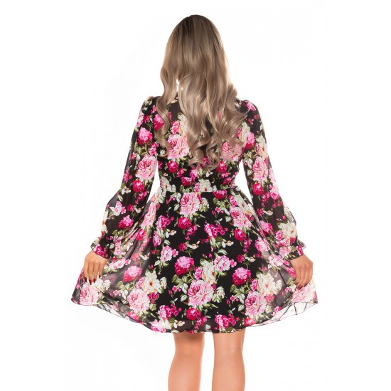 Φλοράλ φόρεμα με κουμπιά