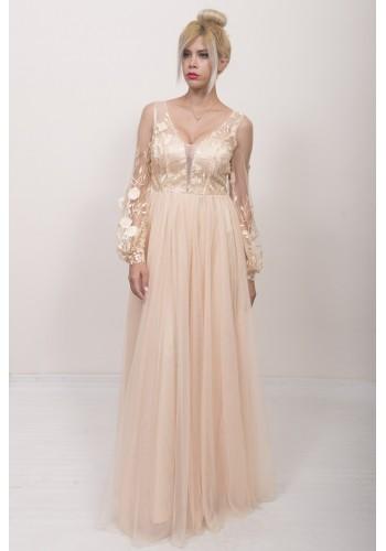 Φόρεμα με δαντέλα 3d λουλούδια