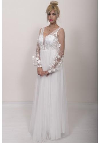 Νυφικό φόρεμα με 3d λουλούδια
